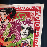 Late 70s/Early 1980s Michaele Volbracht signed 1950s rock n roll graphics scarf - James Dean & Marilyn Monroe