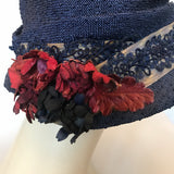 c.1910s vintage hat with ribbon trim and leather corsage