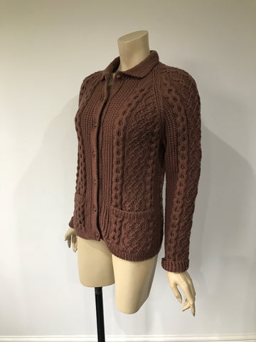 Vintage knitted Aran cardigan in mid cocoa brown