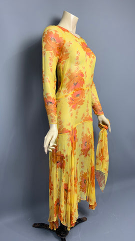 Late 1920s silk chiffon floral dress with handkerchief hem and matching scarf