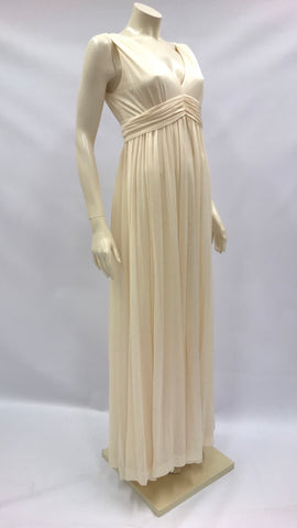 Vintage 1970s Peter Ellis ivory / buttermilk Grecian style draped dress with split floaty front panel