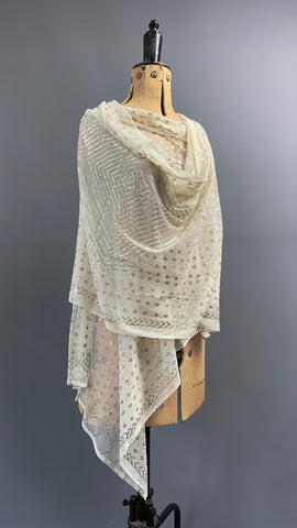 Cream and silver metal 1920s assuit shawl - tulle bi telli