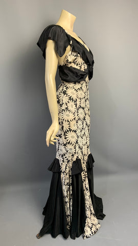 Show stopping 1930s Art Deco daisy print evening gown - A/F
