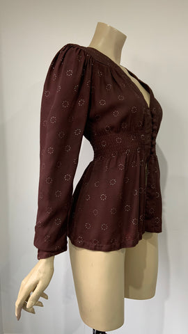 vintage 1970s brown moss crepe Ossie style blouse with iridescent glitter repeat print