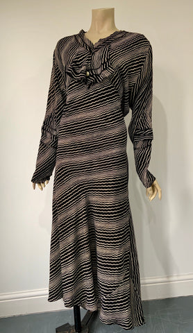 1930s vintage monochrome art deco print day dress with mock jabot detail - volup