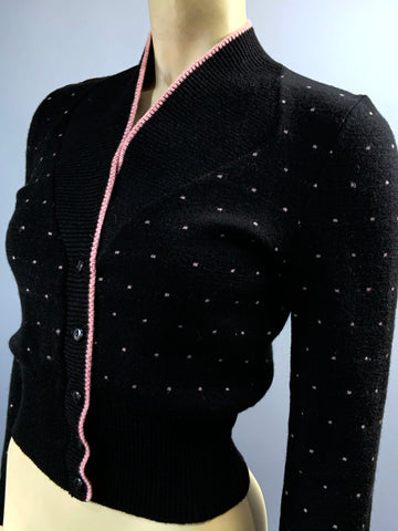 Vintage 1940s to 1950s nip waisted Agar knitted cardigan - black and pink