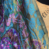 Antique teens to 20s jewel tones and gold lamé fabric - wrap or scarf or make?