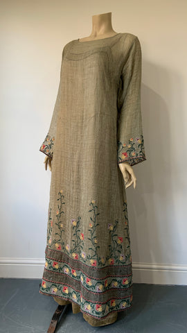 Arts and Crafts style vintage hand embroidered palest green full length tunic dress