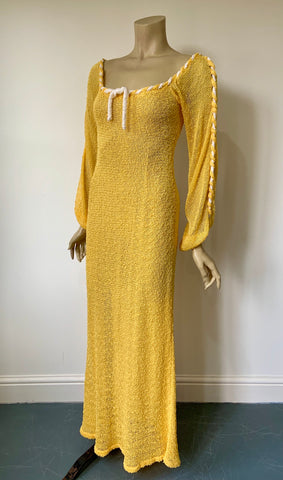 late 1970s vintage Mary Farrin 'Levison Original' knitted maxi dress
