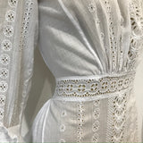 Antique 1910s Edwardian whitework cotton lawn dress or tea gown - broderie anglaise