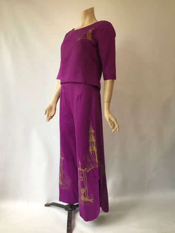 Vintage Alfred Shaheen two piece printed trouser or pant suit - 1960s