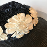 Vintage 1930s navy blue wide brimmed darkest navy blue hat with glacé ribbon, soutache and daisies