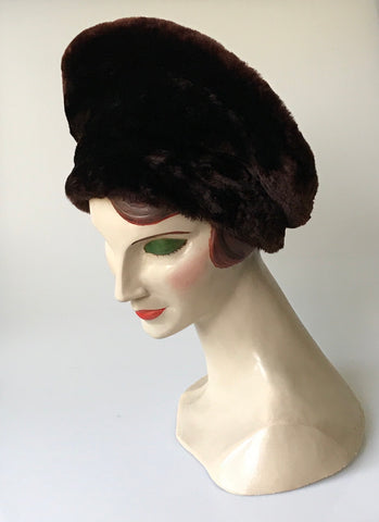 Vintage beaver lamb halo or tam style hat - 'Glamour by Dolores'