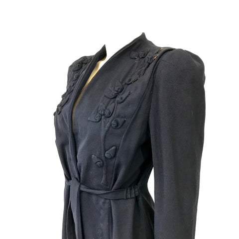 Late 1930s darkest navy gabardine coat with appliqués details