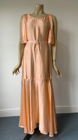 very late 1920s / 1930s rayon satin sleeveless evening dress with mock bolero