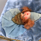 vintage Art Deco French boudoir doll case trimmed with lamé lace - in stocking box