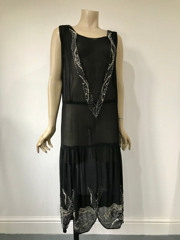 Original 1920s black chiffon and silver beaded flapper dress
