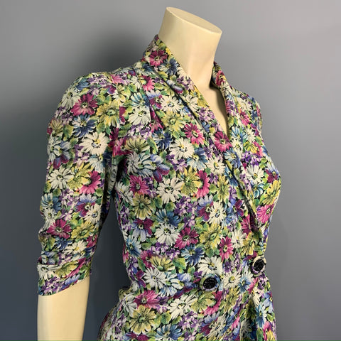Vintage 1930s floral crepe two piece blouse and skirt - asymmetric ruffle peplum