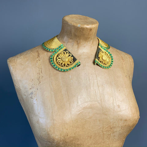 vintage 1930s green and yellow collar with soutache flowers
