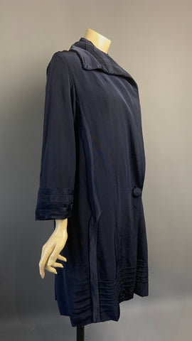 1920s vintage navy grosgrain coat with Art Deco tonal lining - A/F