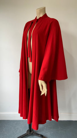 Amazing 1970s Jean Muir lipstick red flared coat with flared sleeves