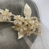 pearlescent 1920s double layered vintage wax flower and leaf wreath headdress