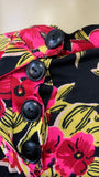 vibrant vintage c.1940  tropical flower print on black ground jersey rayon skirt