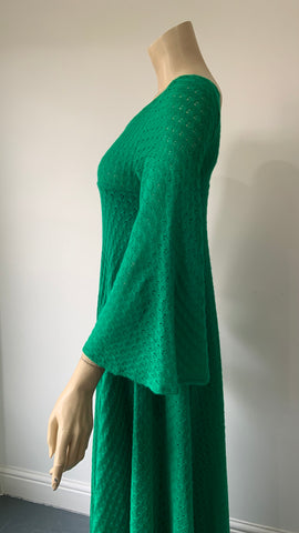 Bold green trapeze knit 1970s vintage maxi dress