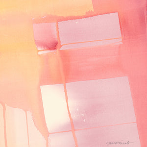 Intersections, Warm, fine art print of original watercolor painting, yellows, coral, pink