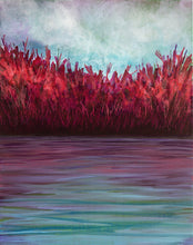 Load image into Gallery viewer, Autumn Shoreline, one painting in a set of three acrylic paintings on canvas, waterscape, in purples, reds, pinks