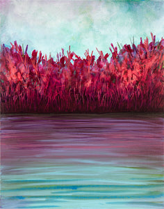 Autumn Shoreline, one painting in a set of three acrylic paintings on canvas, waterscape, in purples, reds, pinks