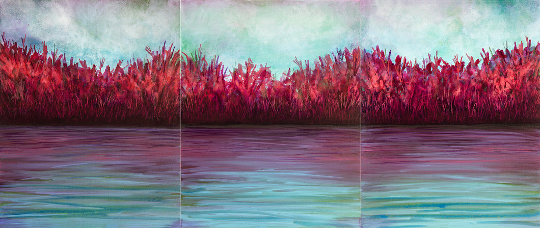 Autumn Shoreline, a set of three acrylic paintings on canvas, waterscape, in purples, reds, pinks