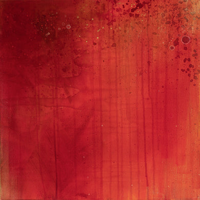 Dismantled Series #3, abstract acrylic painting in orange, red, metallic gold, by Jane Nicolo