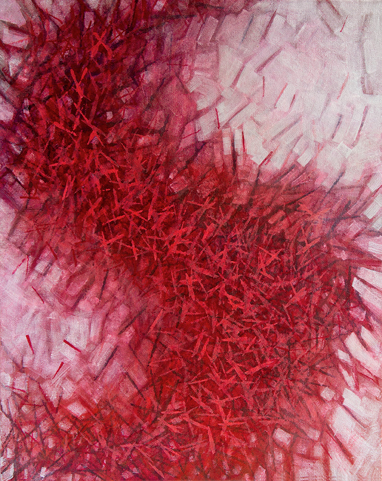 Falling Series: Turmoil, an acrylic painting on canvas, concept-based art, in reds and white