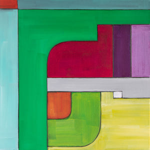 square, geometric, original acrylic painting in grey, purples, greens, red, orange, yellow by Jane Nicolo