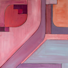 Load image into Gallery viewer, geometric, original acrylic painting in pink, mauve, lavendar, grey, purples, salmon, red, orange by Jane Nicolo