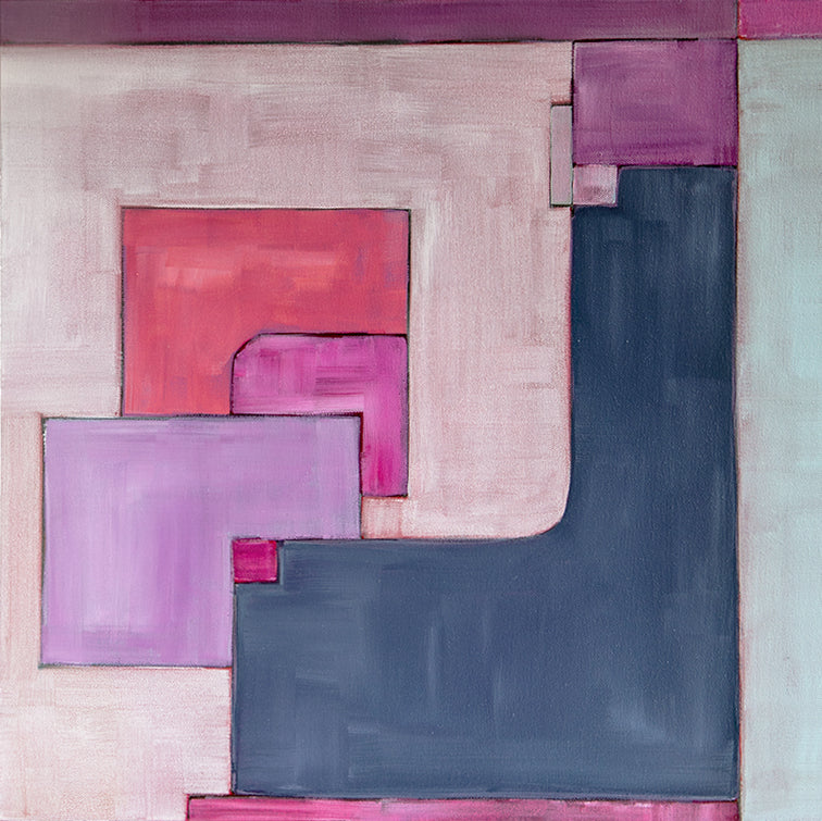 geometric, original acrylic painting in pink, mauve, lavendar, grey, purples, red, white by Jane Nicolo