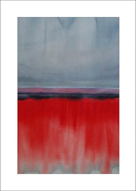 Horizons in Grey, Red, Pink + Silver, #1, Blank Notecard