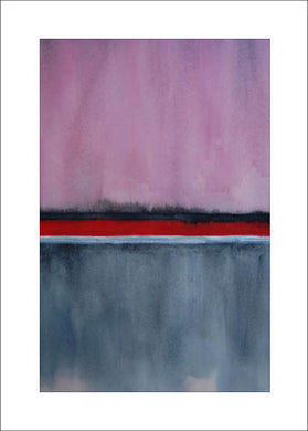 Horizons in Grey, Red, Pink + Silver, #3, Blank Notecard