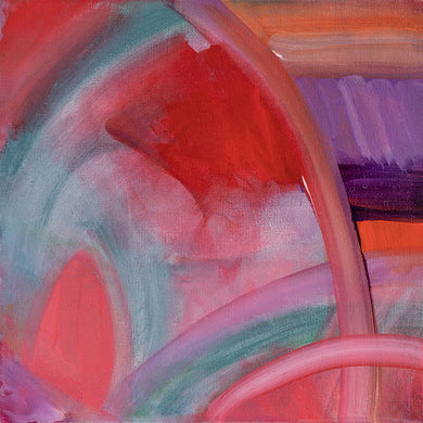 Whirl #1, original acrylic painting by Jane Nicolo, pink, purple, teal, orange, lavendar