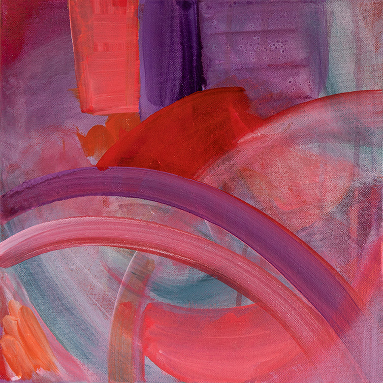 Whirl #2 original acrylic painting by Jane Nicolo, pink, purple, teal, orange, lavendar