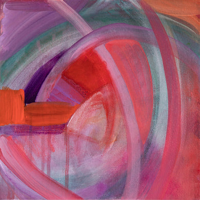Whirl #3 original acrylic painting by Jane Nicolo, pink, purple, teal, orange, lavendar