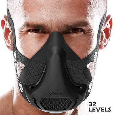 Training Mask - Workout High Altitude Elevation Simulation Oxygen Air - for Gym, Cardio, Fitness, Running, Endurance, Resistance and HIIT (Black)