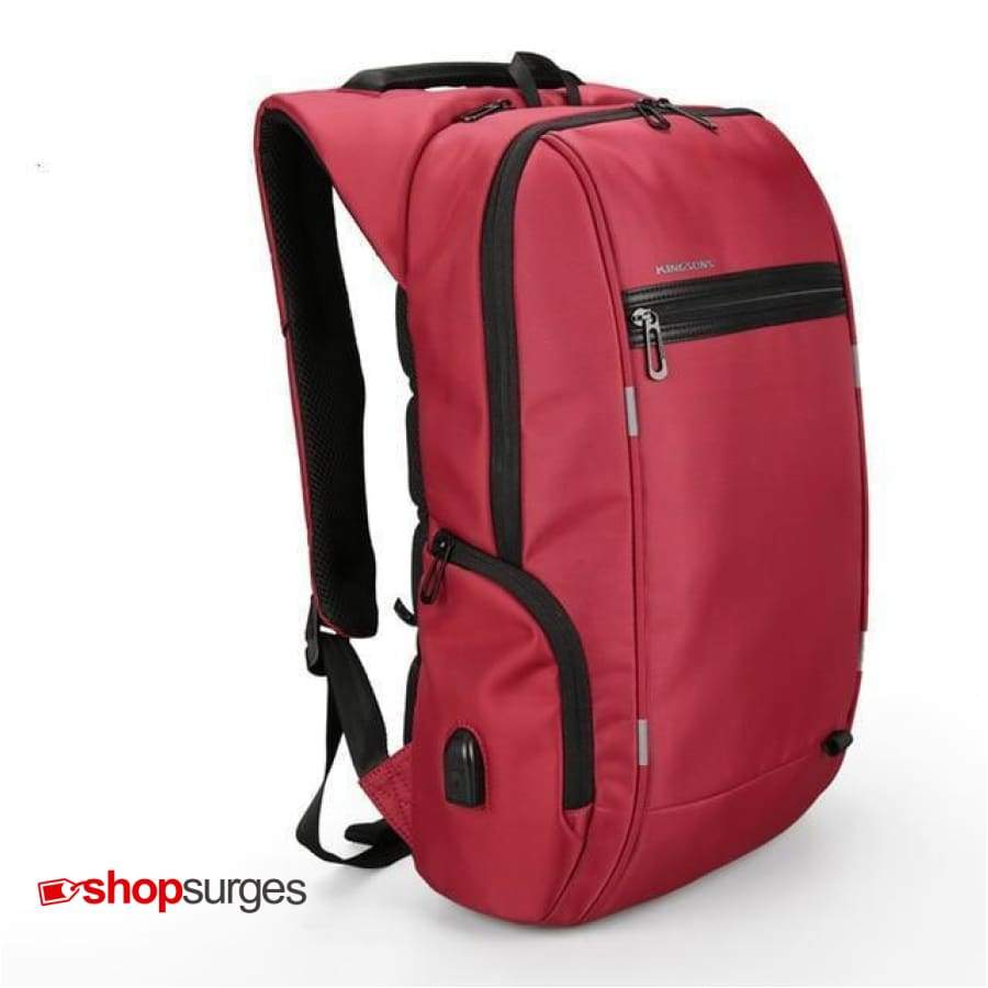 Genuine Business Backpack - Anti Theft Red