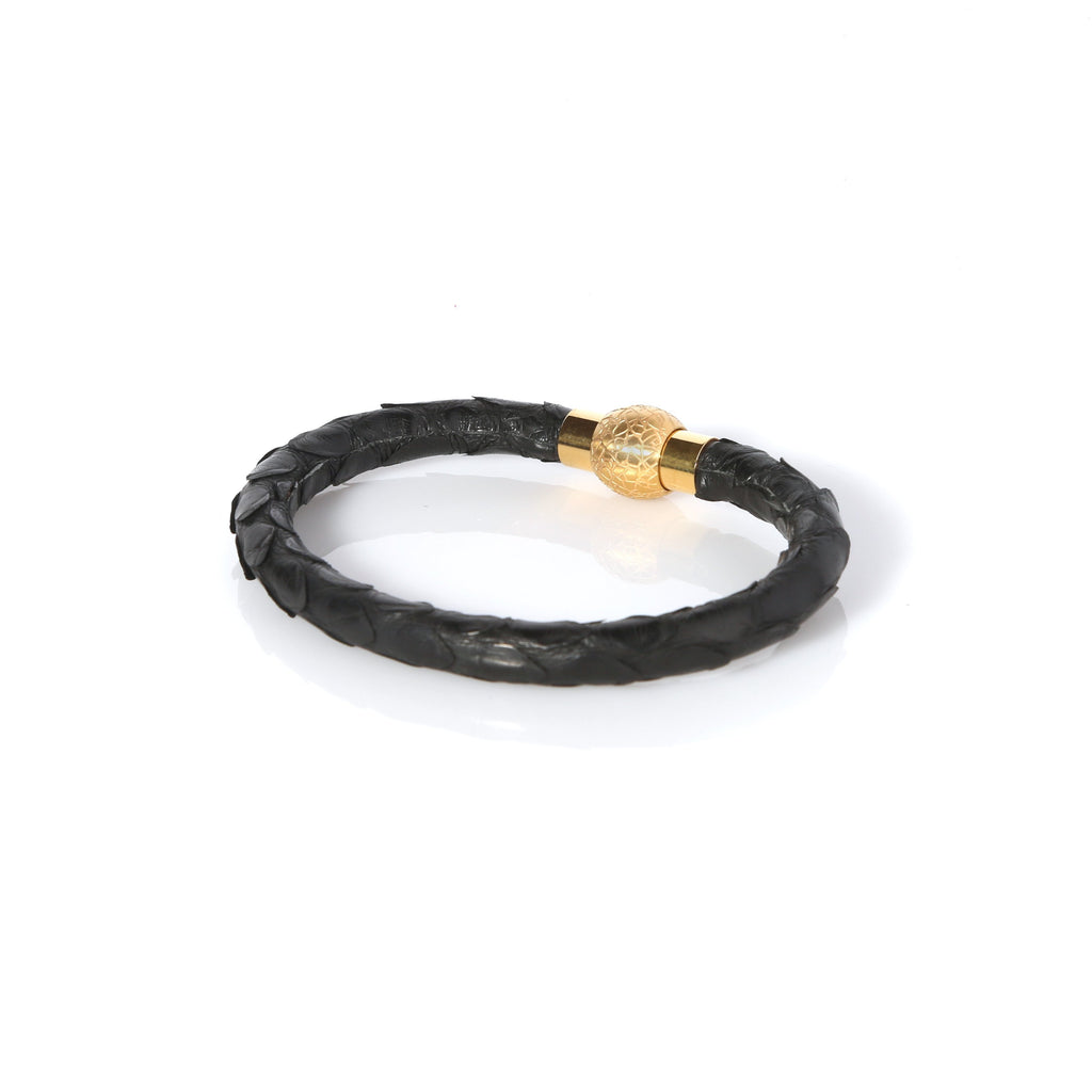 1f80552d4e3 Zeus Genuine Python Leather Bracelet - Black/Gold
