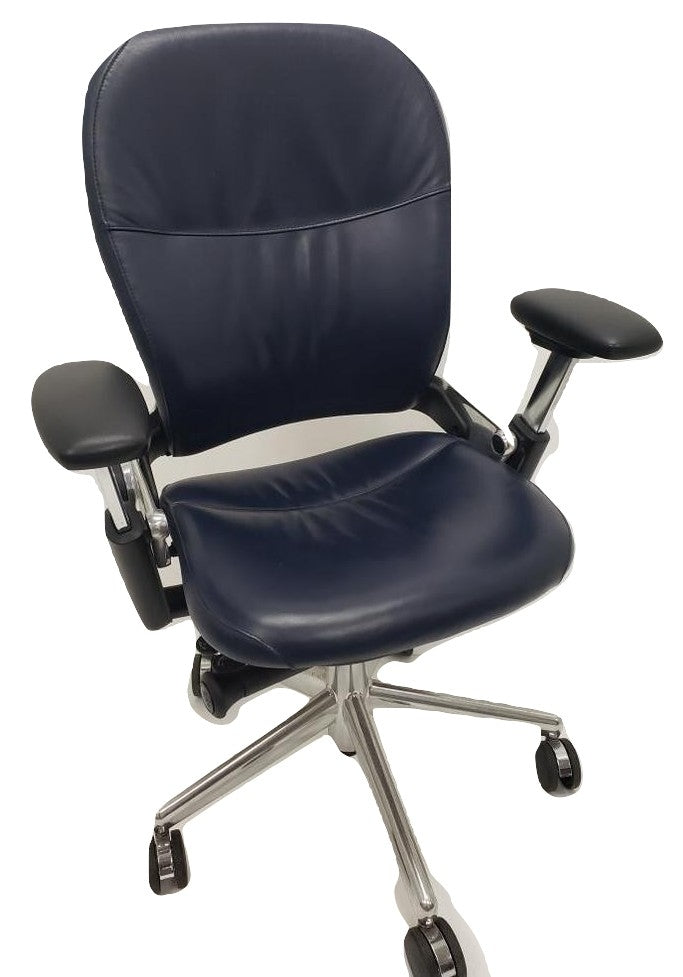 Executive Leather Steelcase Leap Chair with Aluminum Frame - Refurbished