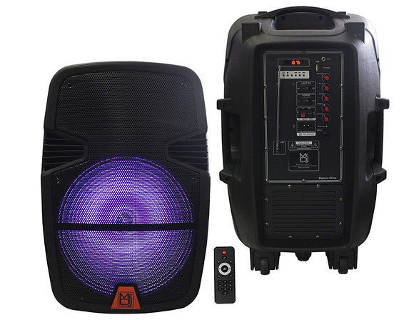 MR DJ PXBAT15 Active Power Speaker with Built-In Bluetooth & Rechargeable Battery LCD/MP3