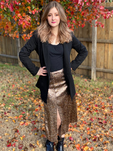 Snake Print Sequin Skirt