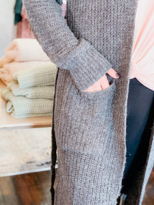 Belted Long-Line Knit Cardigan