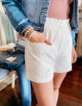 Load image into Gallery viewer, White Shorts with Paper-bag Waist